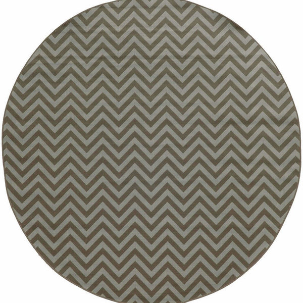 Woven - Riviera Grey Blue Geometric Chevron Outdoor Rug