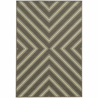 Riviera Grey Blue Geometric  Outdoor Rug