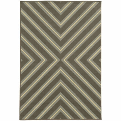 Oriental Weavers Riviera Grey Blue Geometric  Outdoor Rug