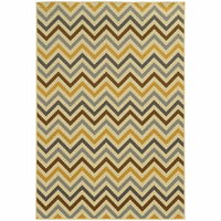 Riviera Grey Gold Geometric Chevron Outdoor Rug - Free Shipping