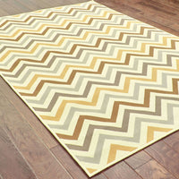 Woven - Riviera Grey Gold Geometric Chevron Outdoor Rug