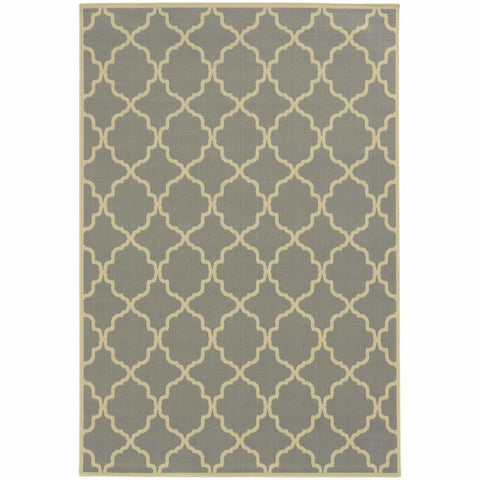 Oriental Weavers Riviera Grey Ivory Geometric Lattice Outdoor Rug