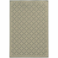 Riviera Grey Ivory Geometric Lattice Outdoor Rug - Free Shipping