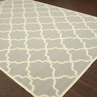 Woven - Riviera Grey Ivory Geometric Lattice Outdoor Rug