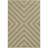 Riviera Grey Ivory Geometric  Outdoor Rug - Free Shipping