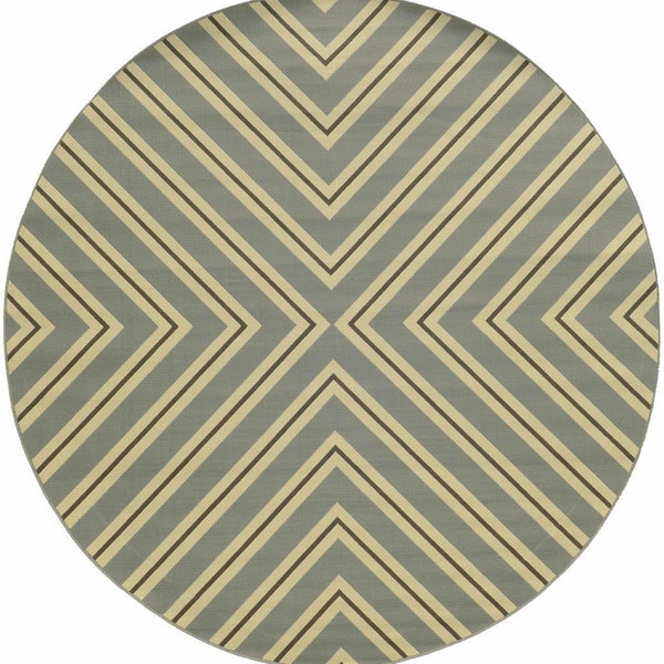 Woven - Riviera Grey Ivory Geometric  Outdoor Rug