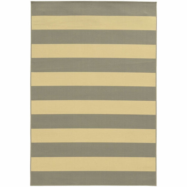 Riviera Grey Ivory Geometric Stripe Outdoor Rug - Free Shipping
