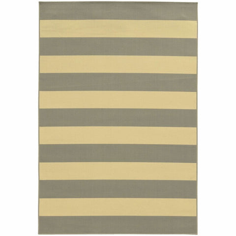 Oriental Weavers Riviera Grey Ivory Geometric Stripe Outdoor Rug