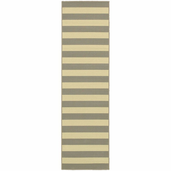 Woven - Riviera Grey Ivory Geometric Stripe Outdoor Rug