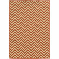 Riviera Orange Ivory Geometric Chevron Outdoor Rug