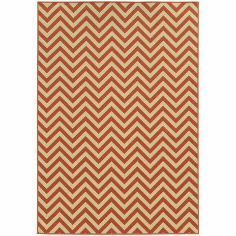 Oriental Weavers Riviera Orange Ivory Geometric Chevron Outdoor Rug