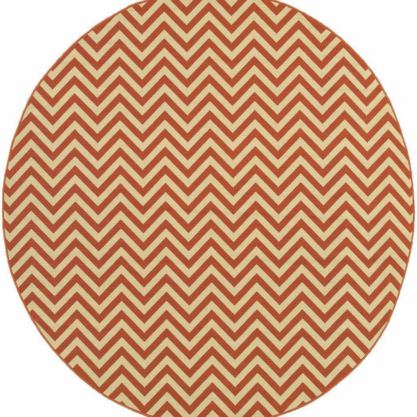 Woven - Riviera Orange Ivory Geometric Chevron Outdoor Rug