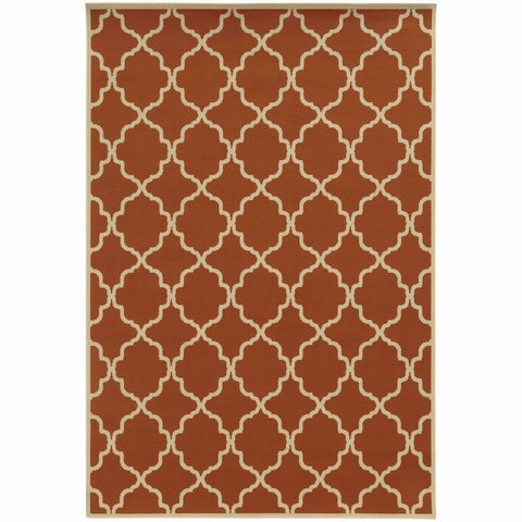 Oriental Weavers Riviera Orange Ivory Geometric Lattice Outdoor Rug