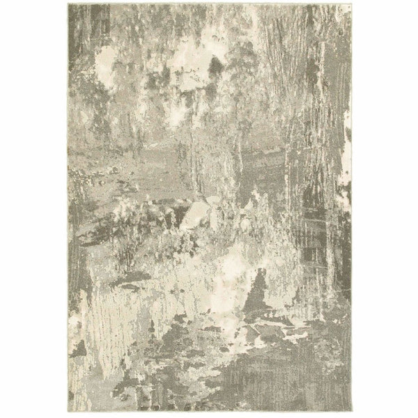 Rowan Ivory Grey Abstract  Contemporary Rug
