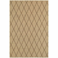 Santa Rosa Beige Sand Geometric Lattice Transitional Rug - Free Shipping