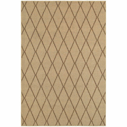 Oriental Weavers Santa Rosa Beige Sand Geometric Lattice Transitional Rug