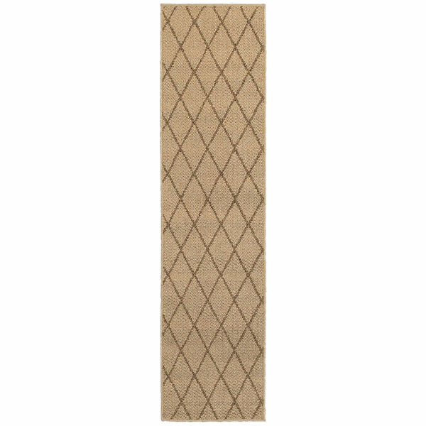 Woven - Santa Rosa Beige Sand Geometric Lattice Transitional Rug