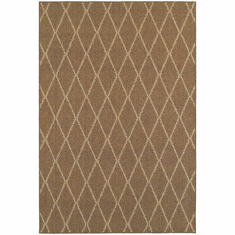 Oriental Weavers Santa Rosa Brown Sand Geometric Lattice Transitional Rug