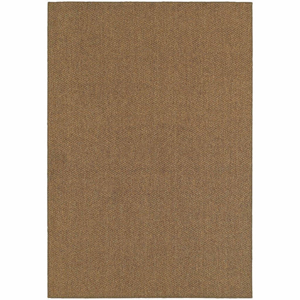 Santa Rosa Brown Tan Solid Outdoor Transitional Rug - Free Shipping