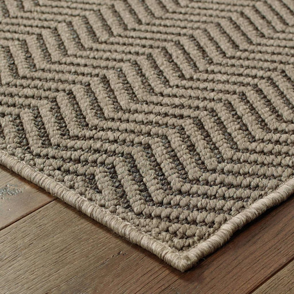 Woven - Santa Rosa Grey Charcoal Solid Chevron Transitional Rug