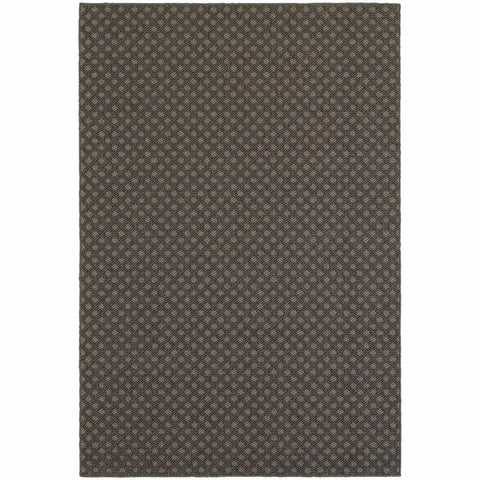 Santa Rosa Grey Charcoal Solid Lattice Transitional Rug