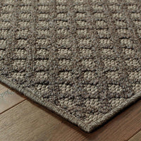 Woven - Santa Rosa Grey Charcoal Solid Lattice Transitional Rug