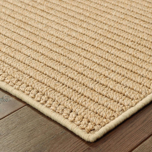 Woven - Santa Rosa Sand Tan Solid Stripe Transitional Rug