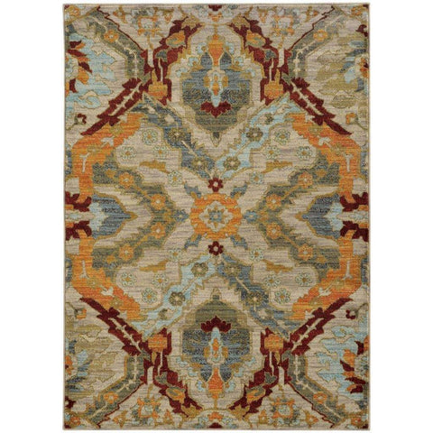 Sedona Beige Orange Abstract Tribal Transitional Rug