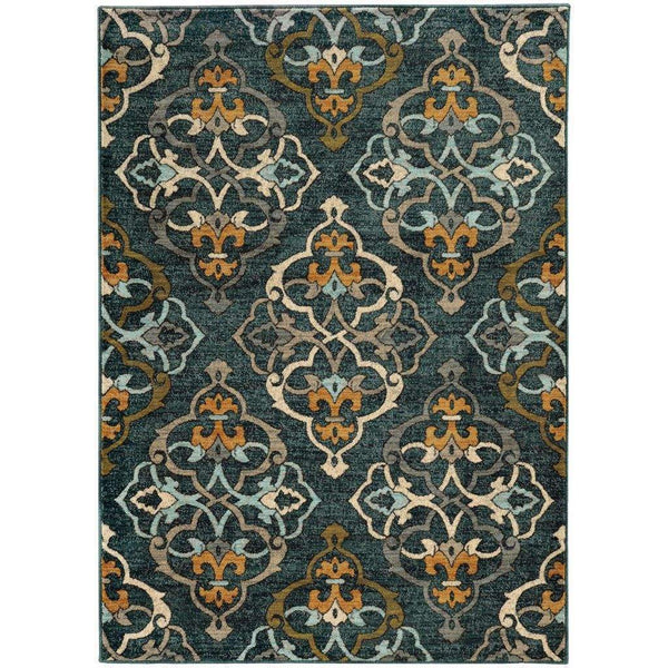 Sedona Blue Gold Floral Medallion Transitional Rug - Free Shipping