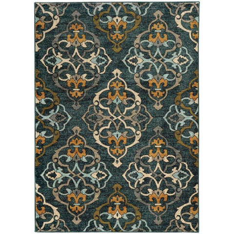 Oriental Weavers Sedona Blue Gold Floral Medallion Transitional Rug