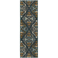 Woven - Sedona Blue Gold Floral Medallion Transitional Rug