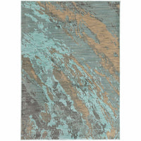 Sedona Blue Grey Abstract Marble Contemporary Rug - Free Shipping