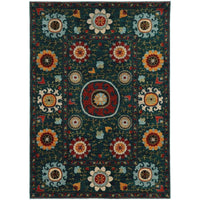 Sedona Blue Multi Floral Medallion Transitional Rug - Free Shipping
