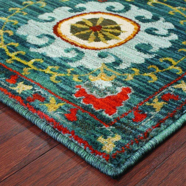 Woven - Sedona Blue Multi Floral Medallion Transitional Rug