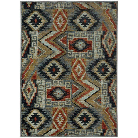 Oriental Weavers Sedona Blue Multi Geometric Southwest/Lodge Transitional Rug