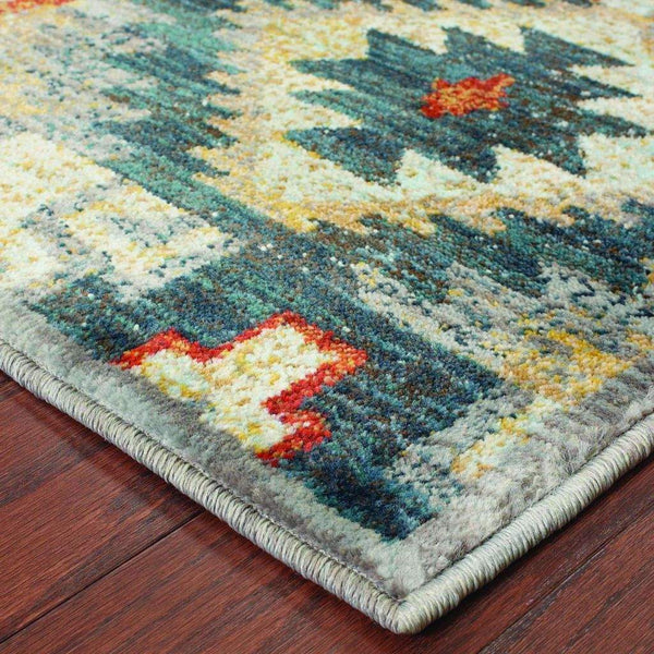 Woven - Sedona Blue Multi Geometric Southwest/Lodge Transitional Rug