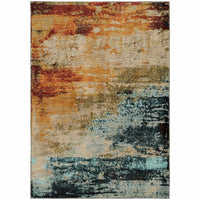 Sedona Blue Red Abstract Distressed Contemporary Rug - Free Shipping