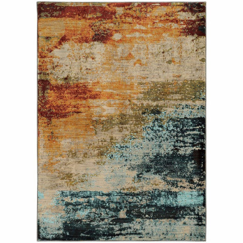 Sedona Blue Red Abstract Distressed Contemporary Rug