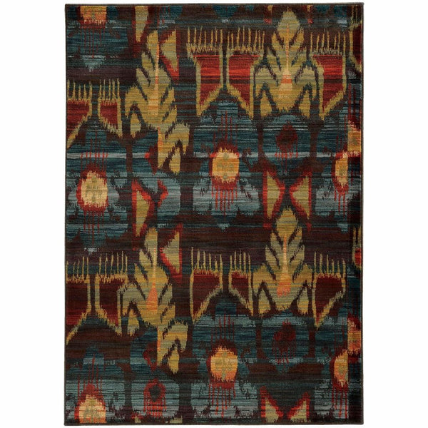 Sedona Grey Blue Abstract Tribal Transitional Rug - Free Shipping