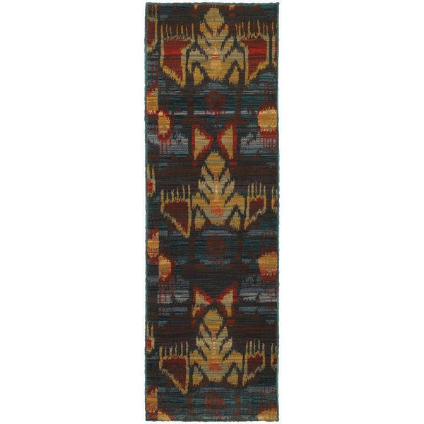 Woven - Sedona Grey Blue Abstract Tribal Transitional Rug