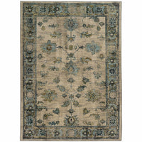 Sedona Ivory Blue Oriental Distressed Transitional Rug - Free Shipping