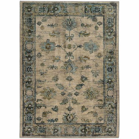 Sedona Ivory Blue Oriental Distressed Transitional Rug