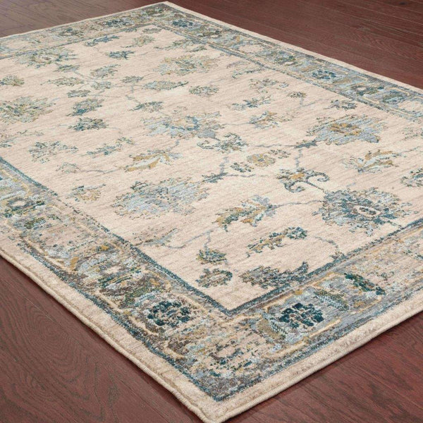 Woven - Sedona Ivory Blue Oriental Distressed Transitional Rug