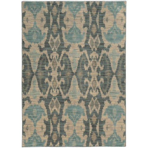 Oriental Weavers Sedona Ivory Grey Abstract Ikat Transitional Rug
