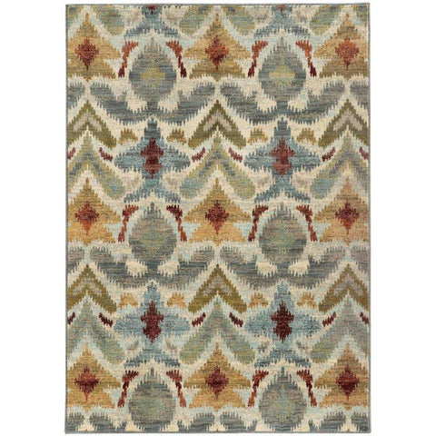 Sedona Ivory Grey Abstract Tribal Transitional Rug