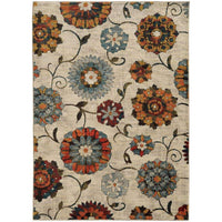 Sedona Ivory Multi Floral  Transitional Rug - Free Shipping