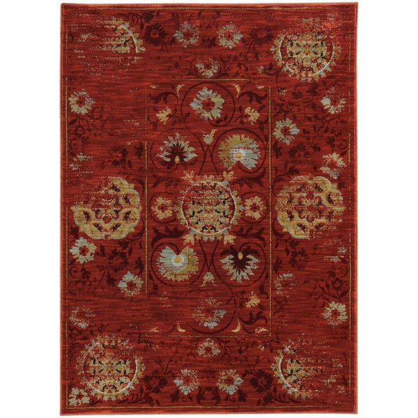Sedona Red Gold Oriental Distressed Traditional Rug - Free Shipping