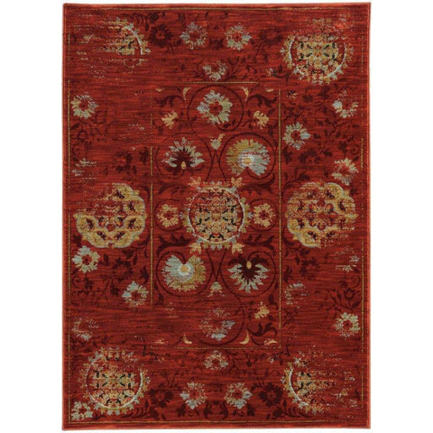 Sedona Red Gold Oriental Distressed Traditional Rug