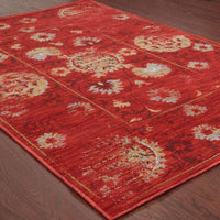 Woven - Sedona Red Gold Oriental Distressed Traditional Rug
