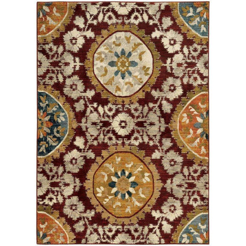 Oriental Weavers Sedona Red Gold Oriental Medallion Transitional Rug